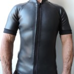 Men's 2mm Smooth Skin Wetsuit Jacket, Front Zipper, Short Sleeve